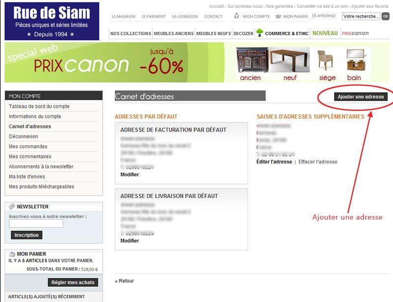comment modifier mon adresse de livraison rue de siam. Black Bedroom Furniture Sets. Home Design Ideas