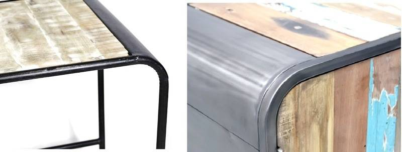 Meubles de style industriel : à gauche le fer est mal peint / à droite  chez RUE DE SIAM le métal est patiné à la main.