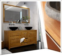 Rue de siam meuble teck recycl contemporain - Meuble salle de bain ancien en bois ...