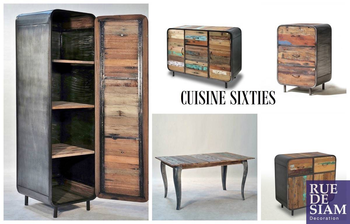 Meuble industriel bois fashion designs for Meuble metal cuisine