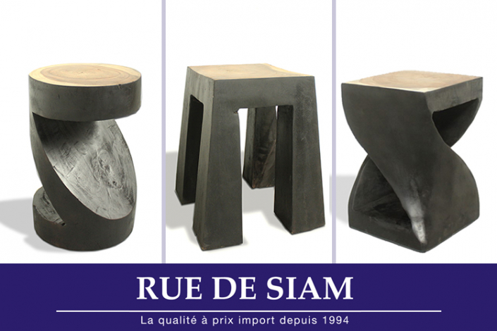 tabourets piedestals en bois brule rue de siam. Black Bedroom Furniture Sets. Home Design Ideas