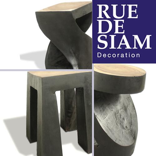 tabourets piedestals en bois brule rue de siam. Black Bedroom Furniture Sets. Home Design Ideas
