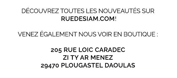 DÉCOUVREZ TOUTES LES NOUVEAUTÉS SUR RUEDESIAM.COM! - Venez également nous voir en boutique: 205 rue Loïc CARADEC, ZI Ty Ar Menez, 29470 PLOUGASTEL DAOULAS