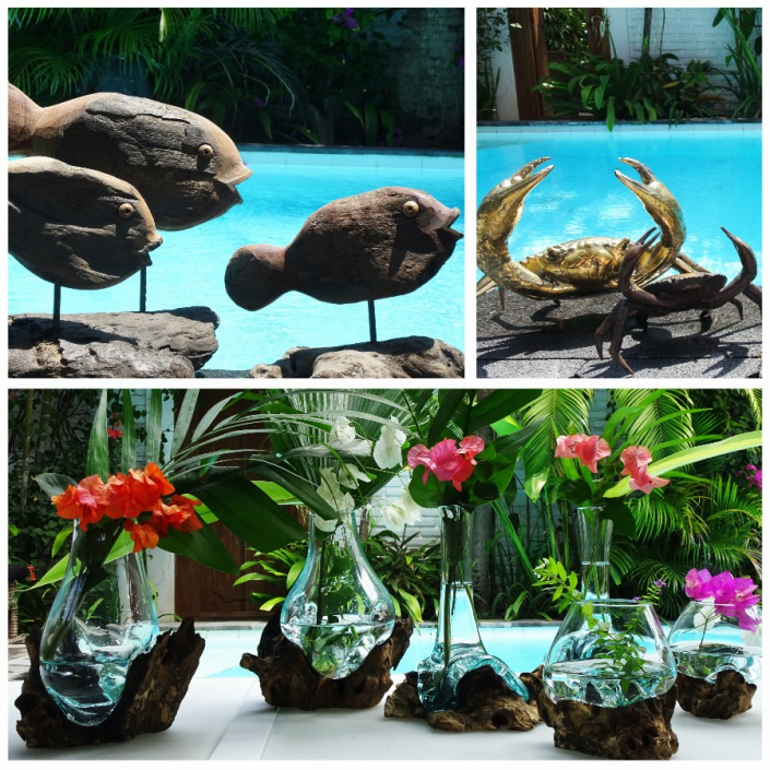 Pour une ambiance de jardin exotique, adoptez ces poissons en bois recyclés ou nos crabes en métal... Et pour une touche de douceur, ornez vos tables de vases en racine et verre soufflé !