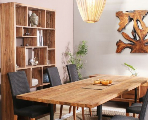 Salle à manger complète contemporaine en bois massif